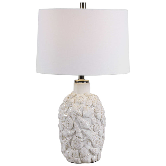 Seashell and Starfish White Ceramic Table Lamp