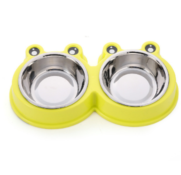 Pet Dog Bowl Puppy Cat Bowl Water Food Storage Feeder Non-toxic PP Resin Stainless Steel Combo Rice Basin 3 Colors