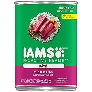 Iams ProActive Health Adult With Beef & Rice Pate Canned Dog Food