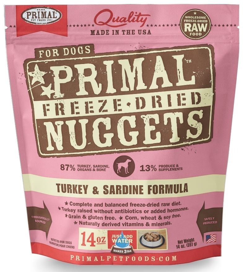 Primal Freeze Dried Nuggets Grain Free Turkey and Sardine Formula Dog Food
