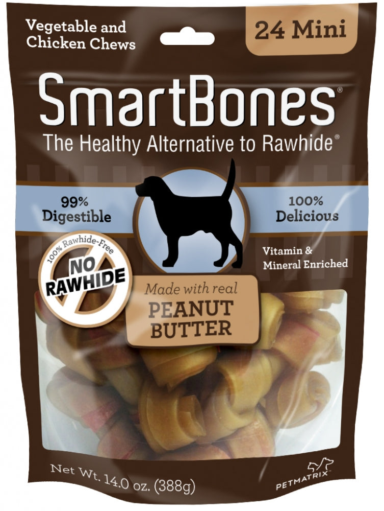 SmartBones Mini Peanut Butter Chew Bones Dog Treats