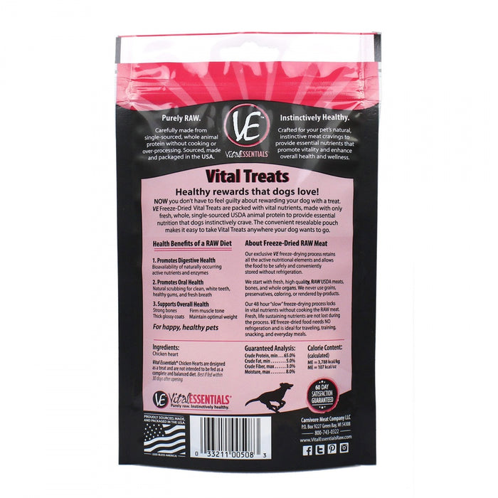 Vital Essentials Freeze Dried Vital Treats Grain Free Chicken Hearts Dog Treats