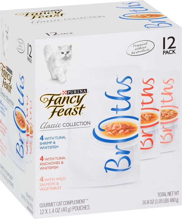 Fancy Feast Classic Collection Broths Variety Pack Supplemental Cat Food Pouches