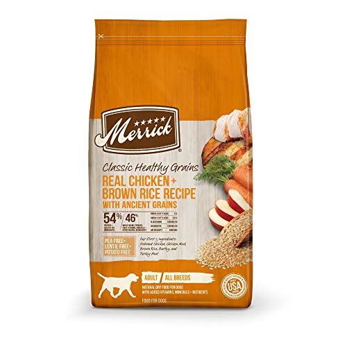 Merrick Classic Healthy Grains Chicken+ Brown Rice Recipe with Ancient Grains Dry Dog Food, 12 lbs.
