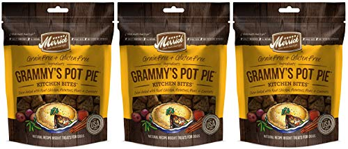 Merrick 3 Pack of Kitchen Bites Dog Biscuits, 9 Ounces each, Grammy's Pot Pie, Grain- and Gluten-Free