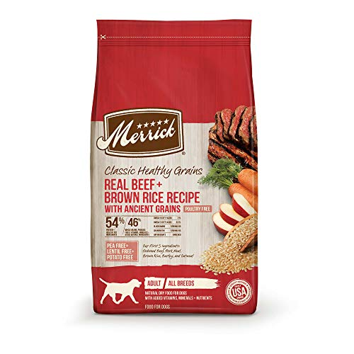 Merrick Classic Healthy Grains Beef+ Brown Rice Recipe with Ancient Grains Dry Dog Food, 12 lbs.