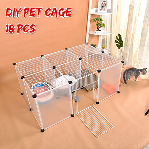 DIY Large Cat Villa Home Pet Bed Pet Cage Anti-skip Cat Fence Plastic Home Cage