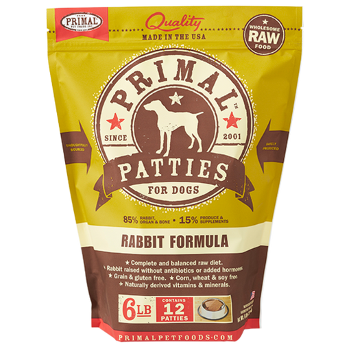 PRIMAL DOG RAW FROZEN RABBIT PATTIES