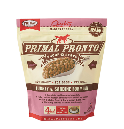 PRIMAL PRONTO DOG RAW FROZEN TURKEY SARDINE