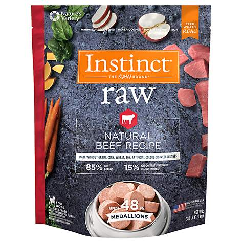 Instinct by Nature's Variety Frozen Raw Medallions Grain-Free Natural Beef Recipe Dog Food, 3-lb bag