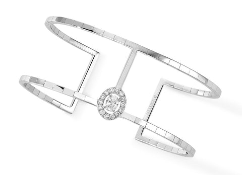 Messika Glam'Azone Skinny 2 rows cuff bracelet - Crystal group