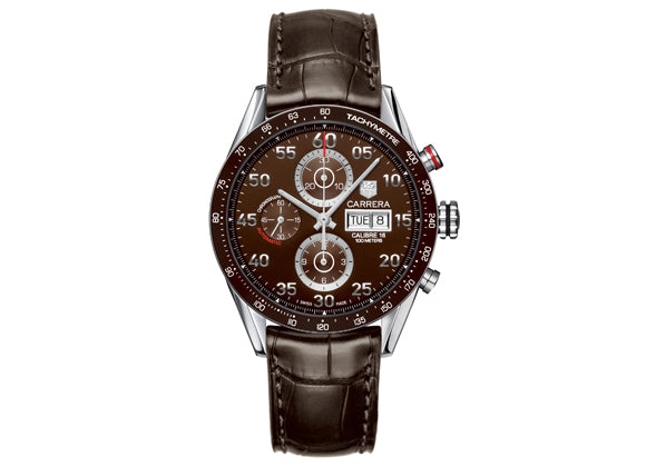 Украденные часы Watch Calibre 16 Day Date Automatic Chronograph 43 mm Brown Strap - Crystal group