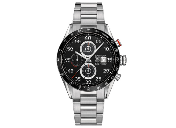 Watch Carrera Calibre 1887 Automatic Chronograph 43 mm Black Steel Bracelet