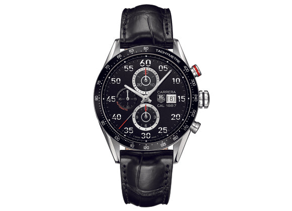 Украденные часы Watch Carrera Calibre 1887 Automatic Chronograph 43 mm Black Steel Strap