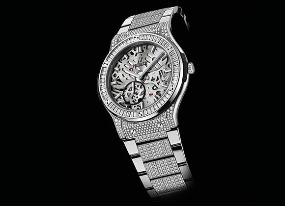 Hublot Classic Fusion 42 mm Classico Ultra-thin Skeleton Titanium Baguette Diamonds Bracelet