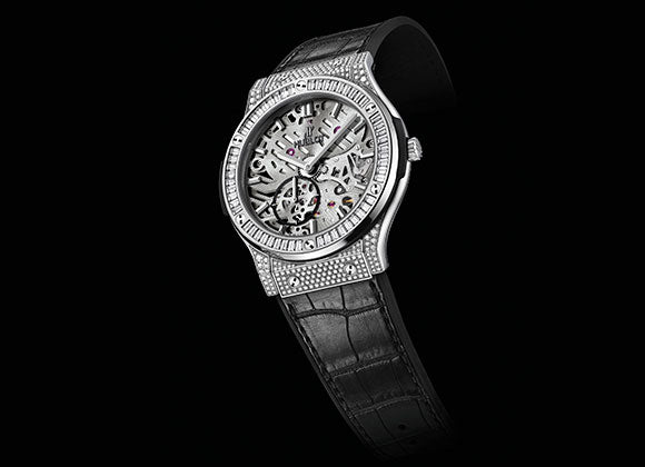 Hublot Classic Fusion 42 mm Classico Ultra-thin Skeleton Titanium Baguette Diamonds
