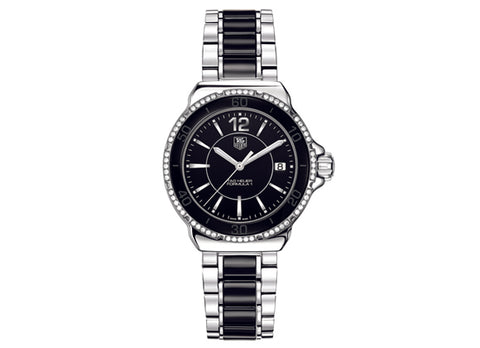Watch Formula 1 Ladies Steel and Ceramic Diamonds 37 mm Black Bracelet