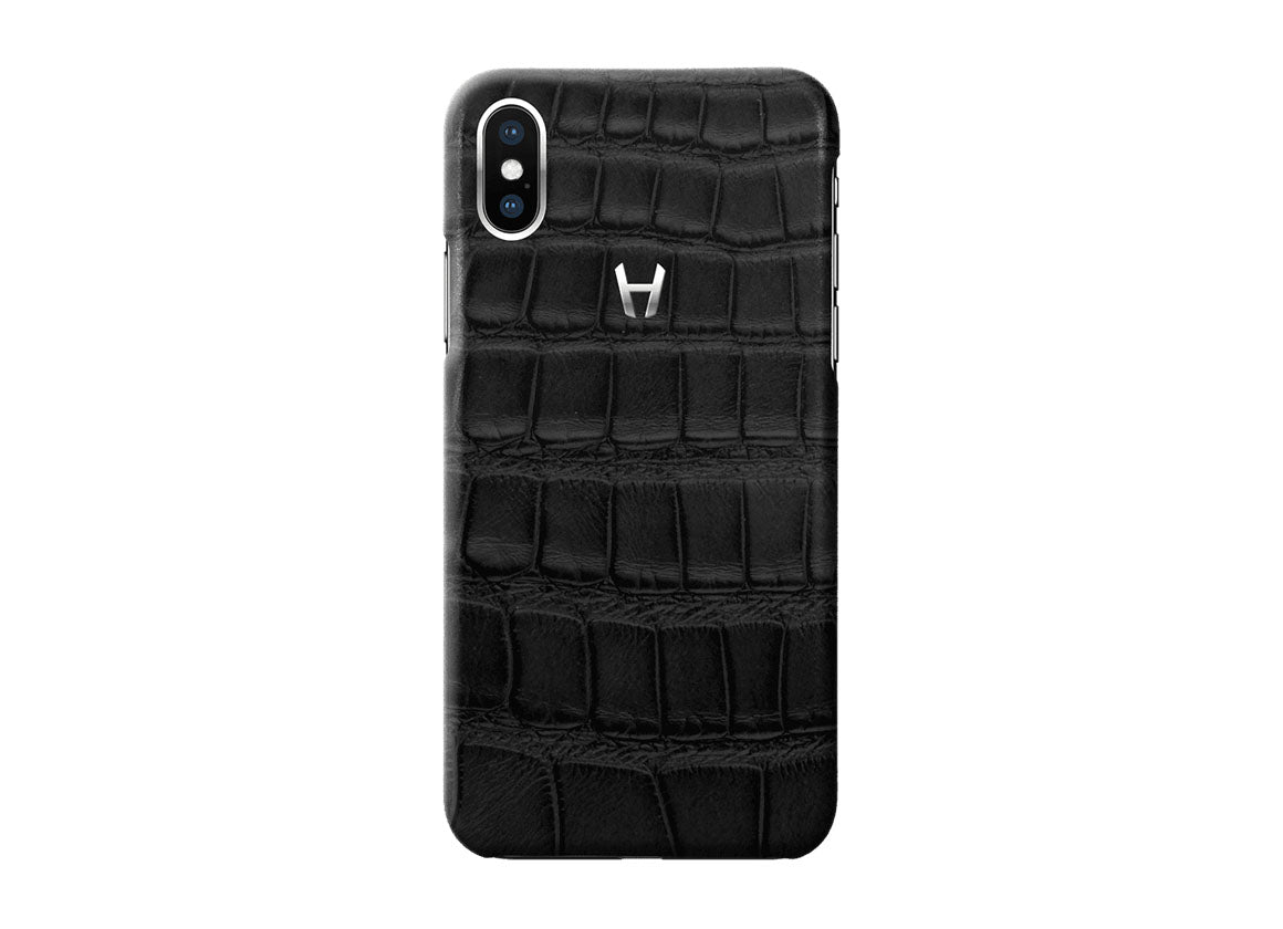 Hadoro Black Alligator Case for iPhone X Stainless Steel