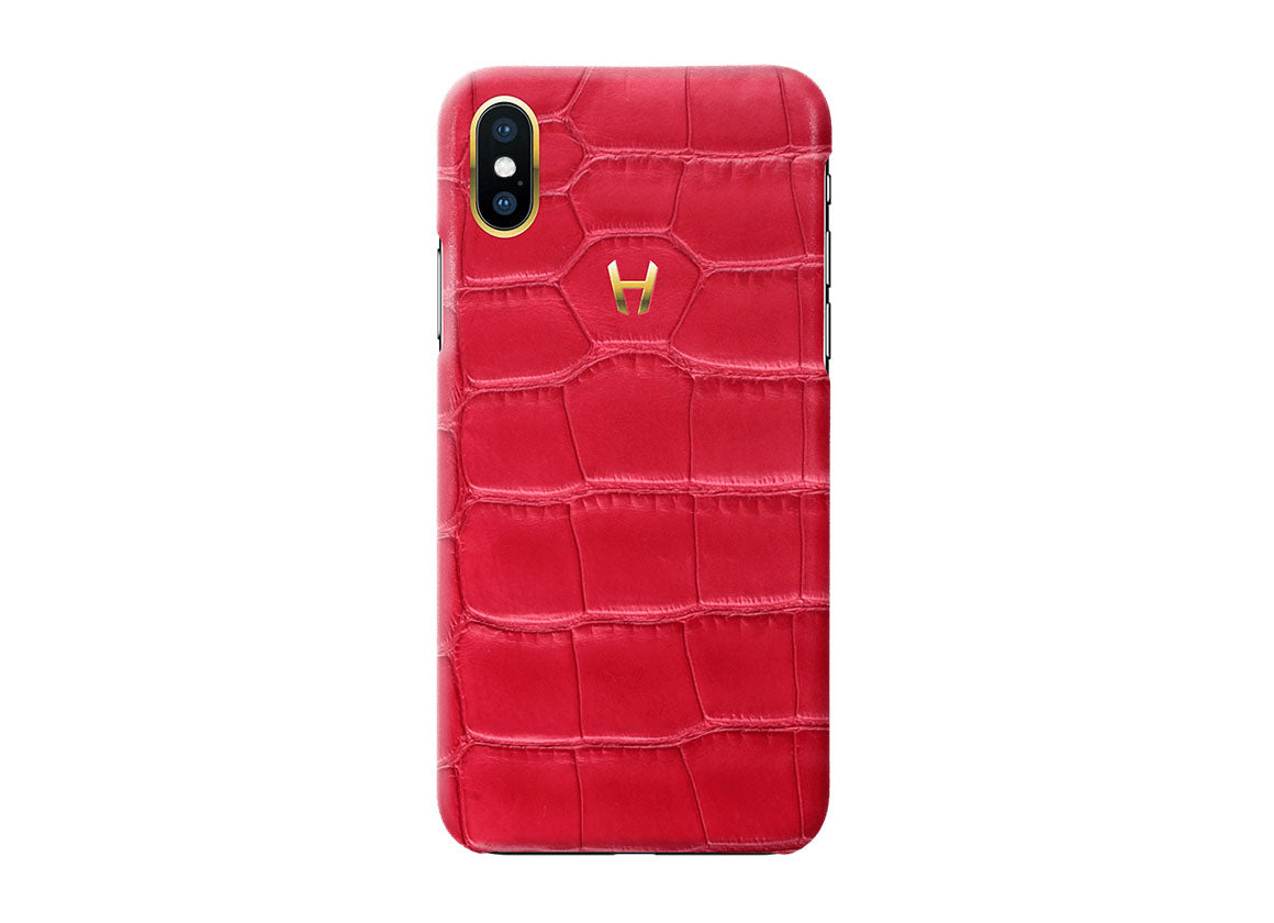 Hadoro Red Alligator Case for iPhone X Plated Gold - Crystal group