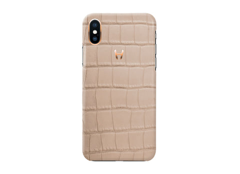 Hadoro Latte Alligator Case for iPhone X Plated Gold - Crystal group