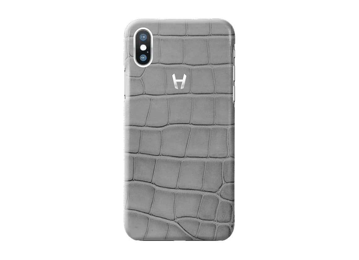 Hadoro Grey Alligator Case for iPhone X Stainless Steel