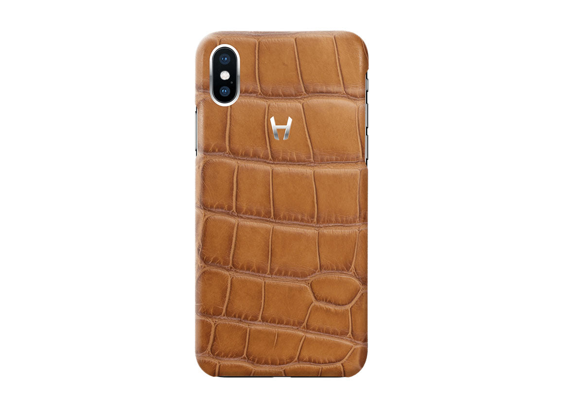 Hadoro Cognac Alligator Case for iPhone X Stainless Steel - Crystal group