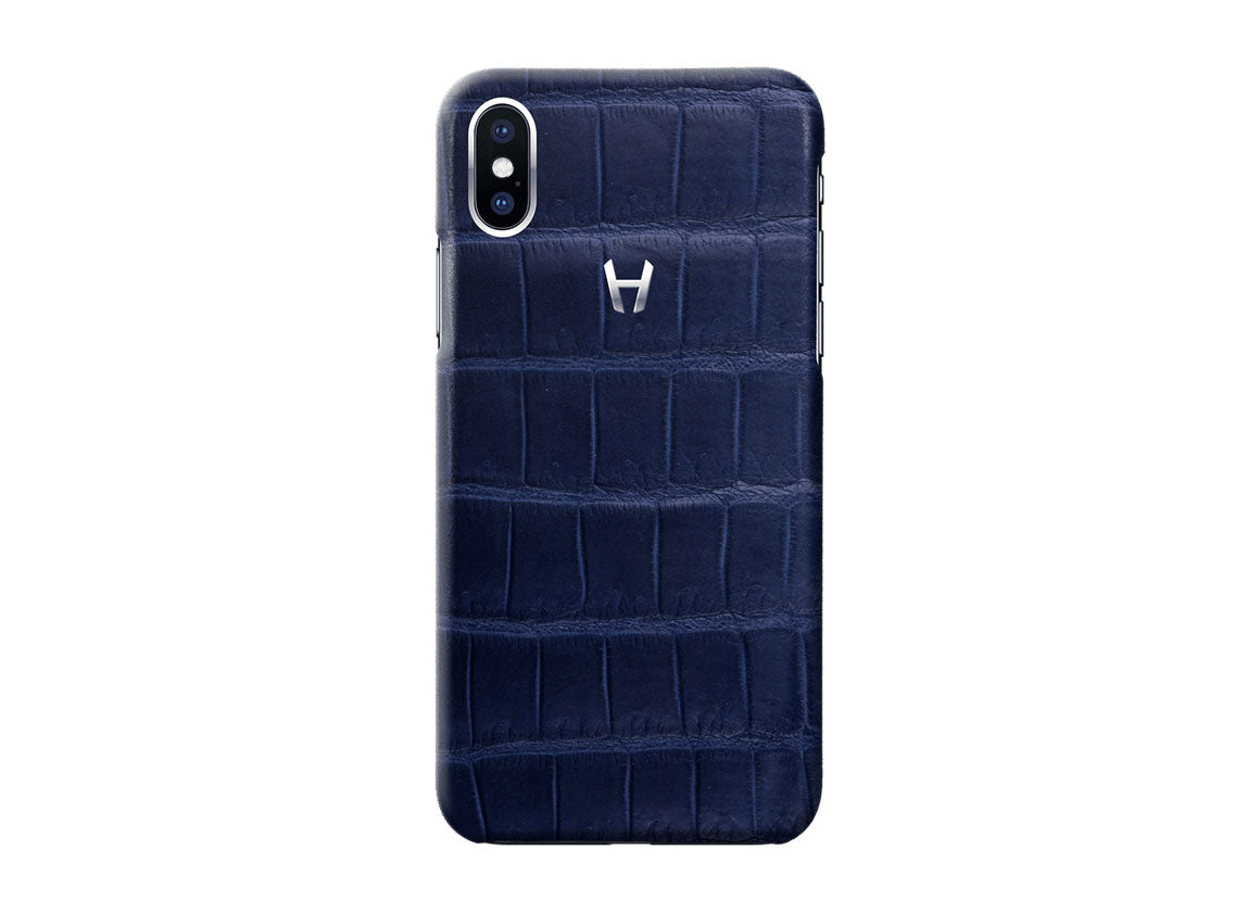 Hadoro Navy Blue Alligator Case for iPhone X Stainless Steel