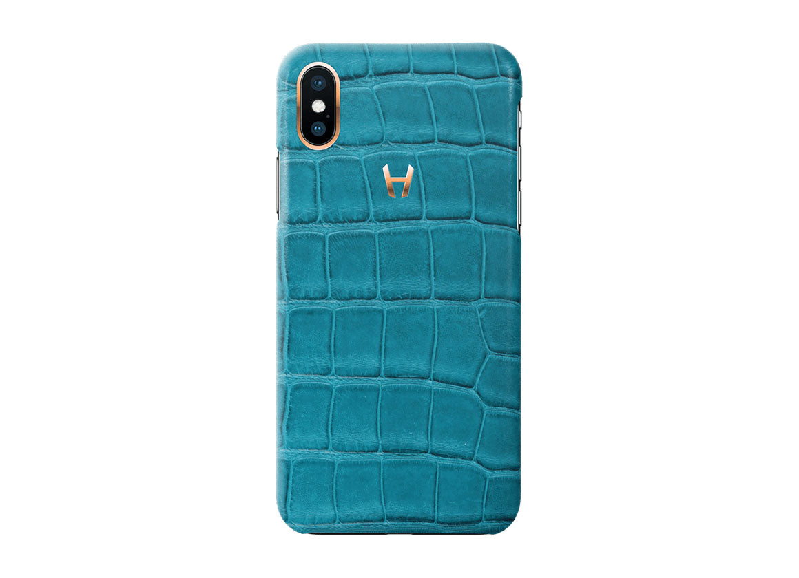 Hadoro Teal Alligator Case for iPhone X Plated Gold - Crystal group