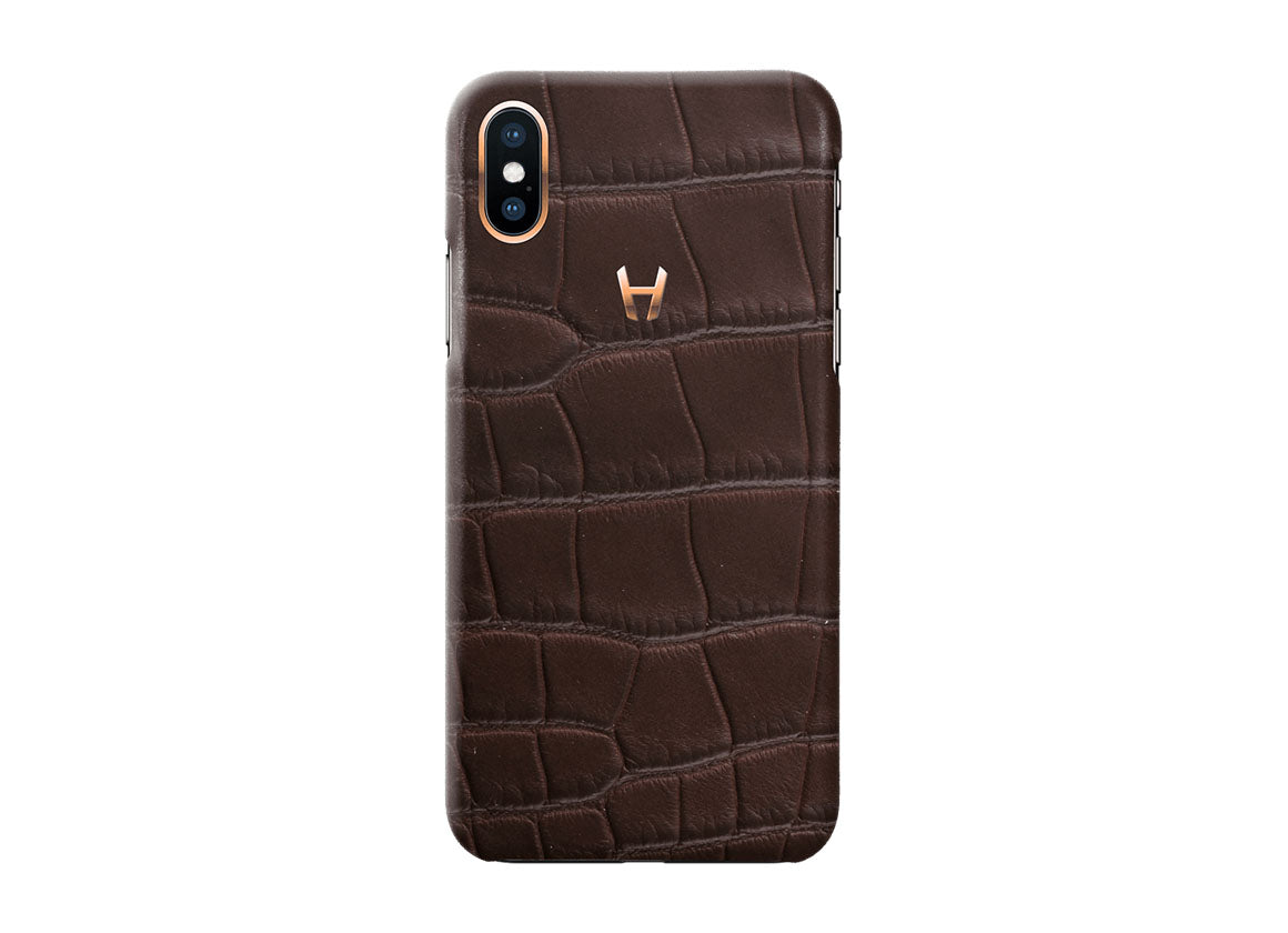 Hadoro Brown Alligator Case for iPhone X Plated Gold
