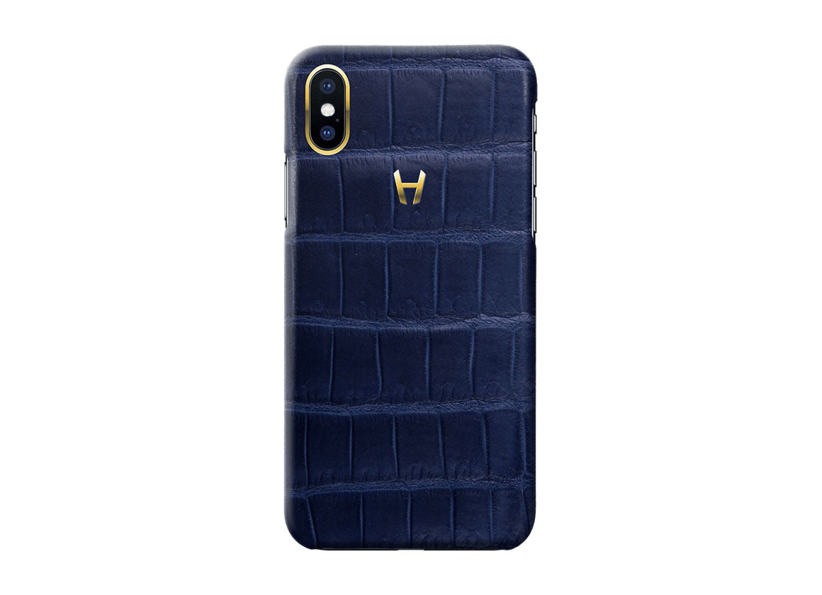 Hadoro Navy Blue Alligator Case for iPhone X Plated Gold