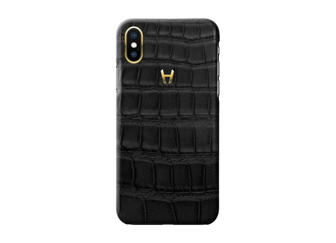 Hadoro Black Alligator Case for iPhone X Plated Gold