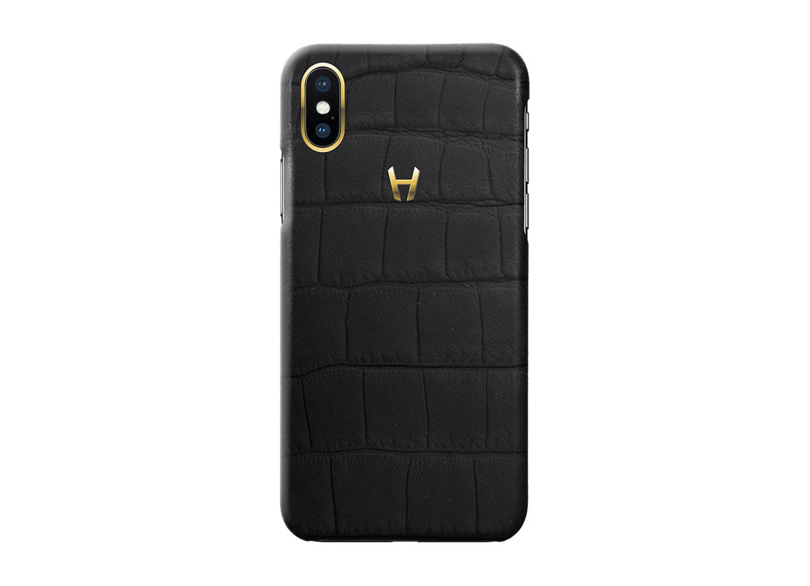 Hadoro Black Carbon Alligator Case for iPhone X Plated Gold