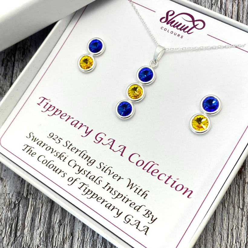 Sterling Silver Earrings and Pendant Set in GAA County Colours