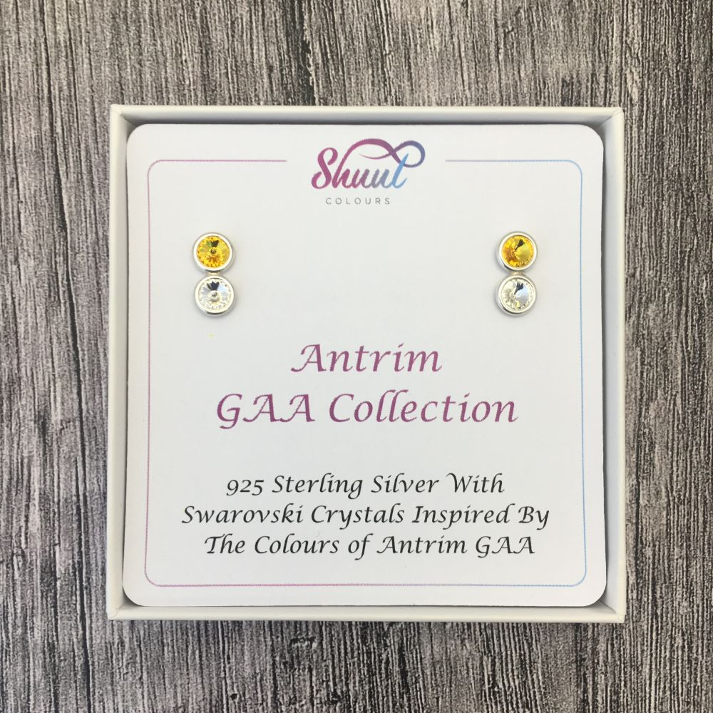 Antrim GAA Colours Sterling Silver Swarovski Earrings - Shuul