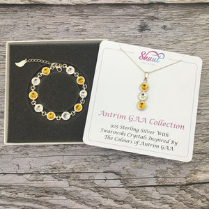 Antrim GAA Colours Sterling Silver Swarovski Necklace & Bracelet Set - Shuul