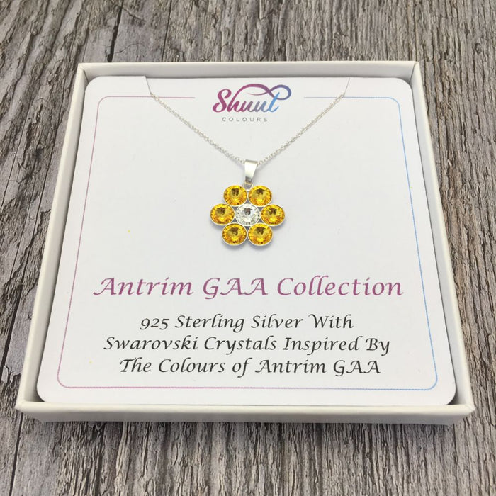 Antrim GAA County Colours 7 Drop Sterling Silver Pendant
