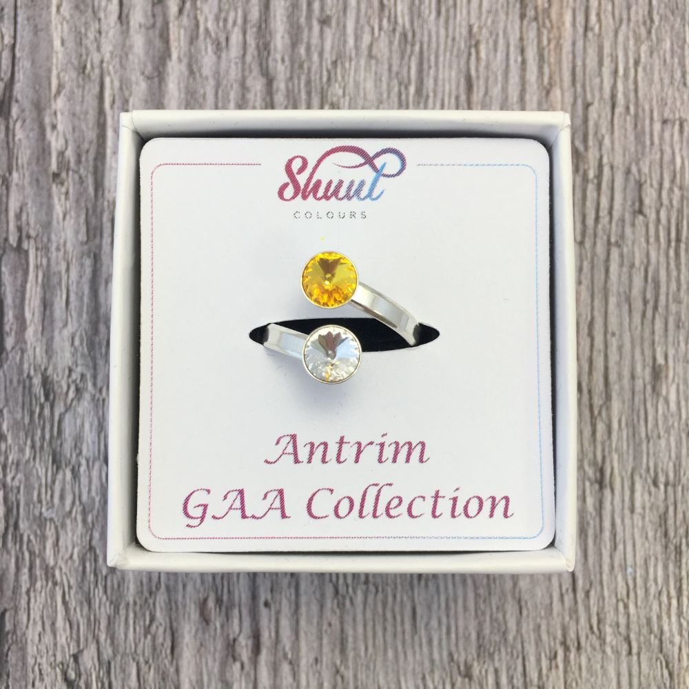 Antrim GAA Sterling Silver Ring with Swarovski Crystals - Shuul