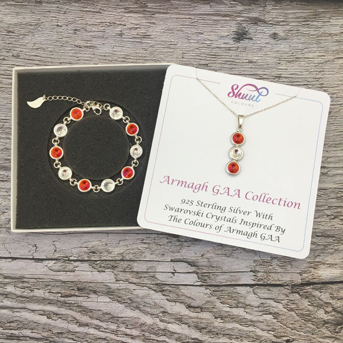 Armagh GAA Colours Sterling Silver Swarovski Necklace & Bracelet Set