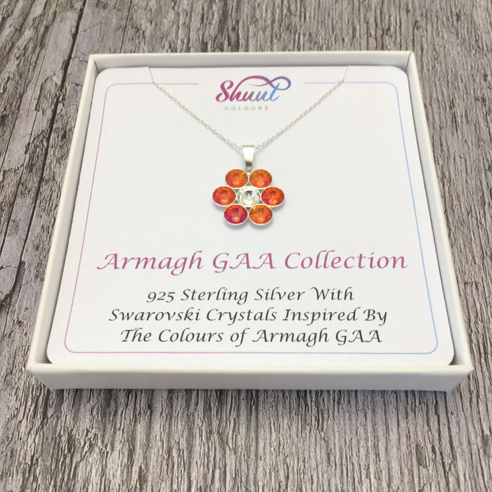 Armagh GAA County Colours 7 Drop Sterling Silver Pendant
