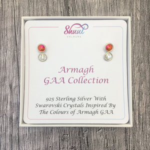Armagh GAA Colours Sterling Silver Swarovki Earrings - Shuul