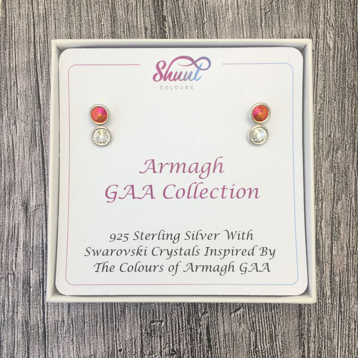 Armagh GAA Colours Sterling Silver Swarovski Earrings