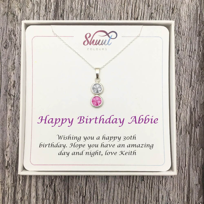 2 Drop Personalised Necklace - Birthday Jewellery Gifts For Her