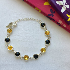 Kilkenny GAA Colours Inspired Sterling Silver Bracelet With Swarovski Crystals - Shuul