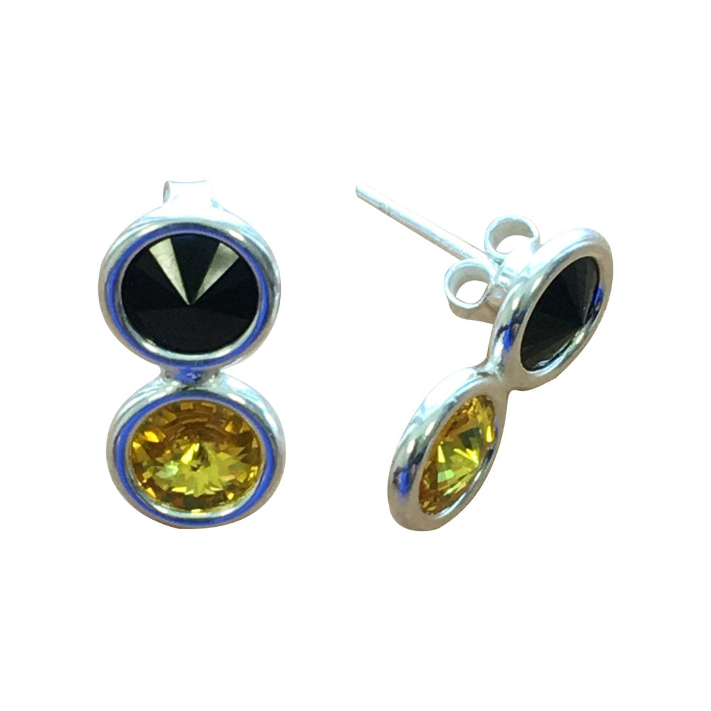 Kilkenny GAA Colours Sterling Silver Swarovki Earrings - Shuul