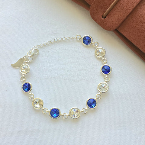 Laois GAA Colours Inspired Sterling Silver Bracelet With Swarovski Crystals - Shuul