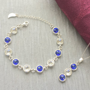 Cavan GAA Colours Inspired 925 Sterling Silver Bracelet & Pendant Necklace Set - Shuul