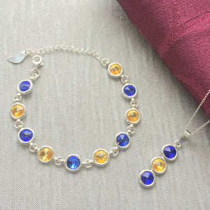 Wicklow County GAA Colours Inspired Sterling Silver Pendant Necklace & Bracelet Set With Genuine Swarovski Crystals - Shuul