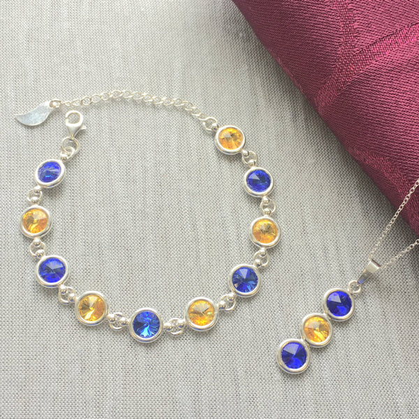 Tipperary GAA Colours Inspired Sterling Silver Necklace Pendant & Bracelet Set With Genuine Swarovski Crystals - Shuul