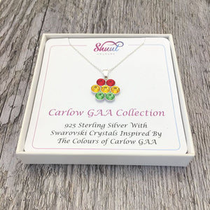 Carlow GAA County Colours 7 Drop Sterling Silver Pendant - Shuul