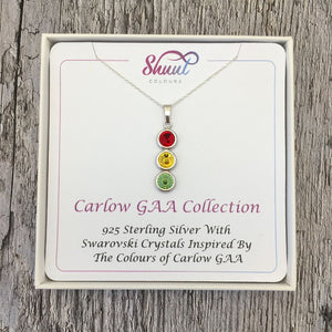 Carlow GAA Colours Sterling Silver & Swarovski Pendant Necklace